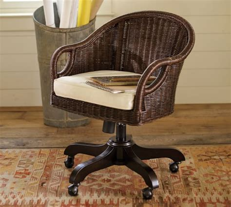 wicker swivel desk chair wingate rattan swivel desk chair pottery barn