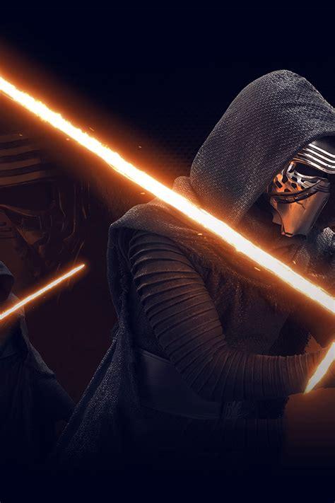 starwars kylo ren dark orange lightsaber art