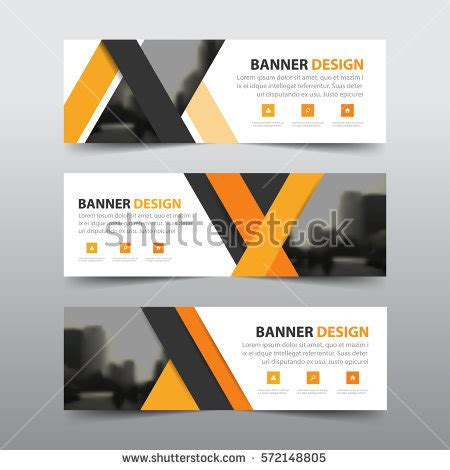 design poster header orange abstract triangle corporate business banner stock