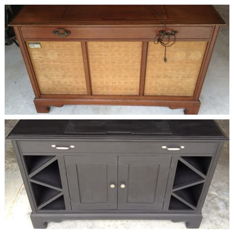 record player cabinet transformed into mini bar