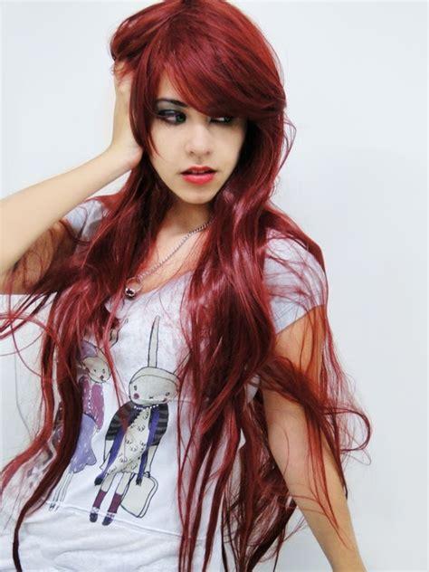 cortes de cabello 2016 en rojo y negro moda cabellos cortes de pelo largo rojo verano 2014