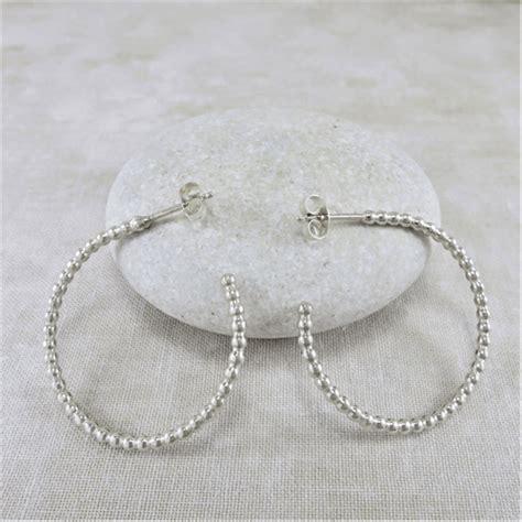 Hoop Stud Earrings silver earrings beaded hoop stud earrings