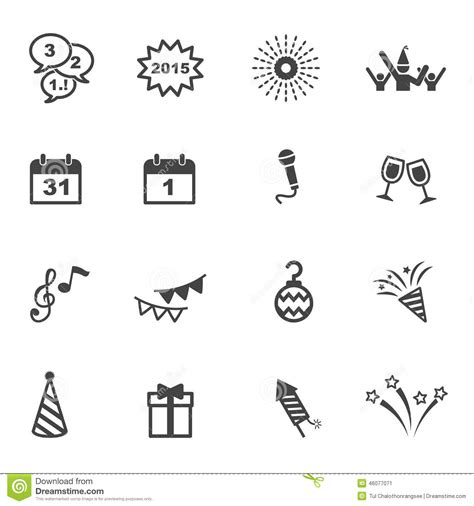 new year symbols in order happy new year icons stock vector image 46077071