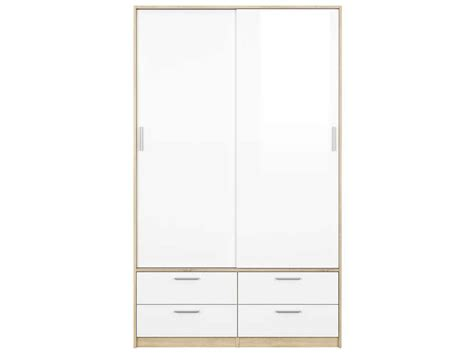 Armoire 2 portes 4 tiroirs LAKE coloris blanc/ chêne