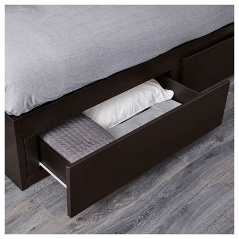 ikea bed with drawers flekke day bed frame with 2 drawers black brown 80x200 cm
