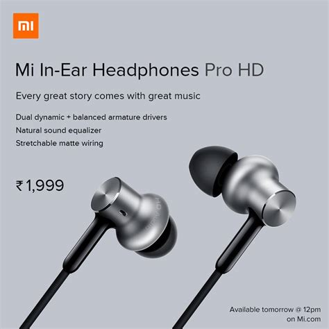 Mi In Ear Headphones Pro Hd mi in ear headphones pro hd launched in india with