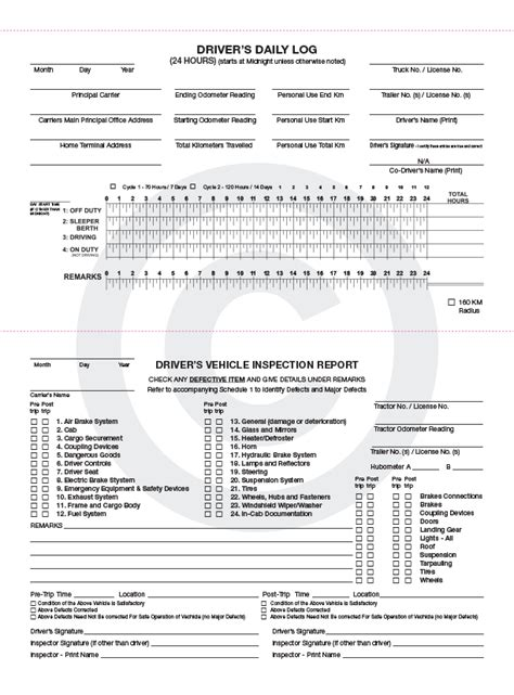 vehicle inspection report book driver vehicle inspection report form free