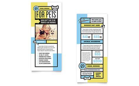 hotel rack cards template pet boarding rack card template design