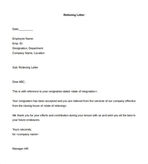 Experience Letter And Relieving Letter Format relieving letter format from employer letter template