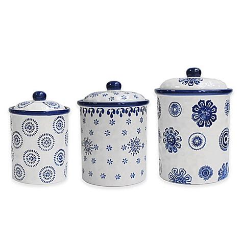 Bed Bath And Beyond Canister Sets Buy American Atelier 3 Blue St Canister Set From Bed Bath Beyond