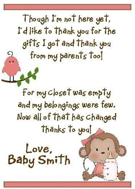 Thank You For Hosting Baby Shower by 2 Sweet Baby Monkey S Baby Shower Thank You Cards
