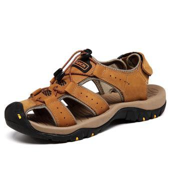 Sepatu Sandal Pantai Pria pria asli sandal kulit durable sepatu datar musim panas