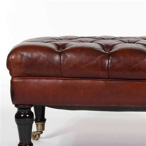 leather bench ottoman tufted leather ottoman or bench late 19th century at 1stdibs