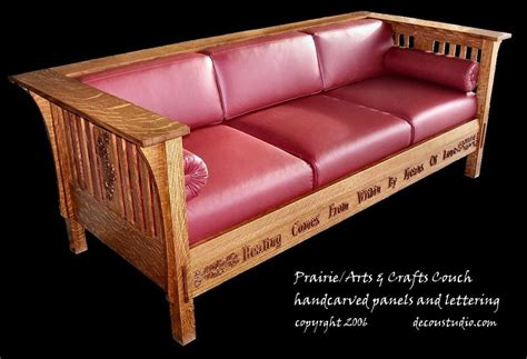 arts and crafts sofa arts crafts style inspired prairie couch oak leaf and