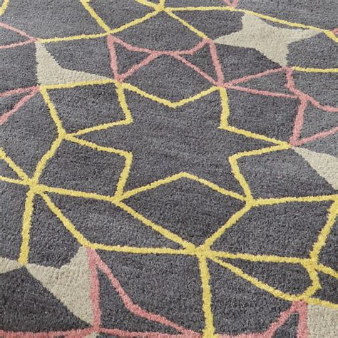 Grey Modern Rug Geometric Arrows 100 Wool Rug Modern Tufted Mat Grey Pink Yellow Ebay