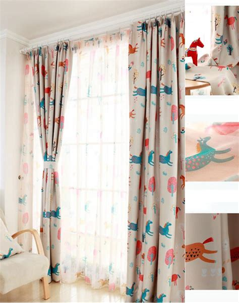 kids blackout curtains cute animal beige polyester cotton blackout kids curtains