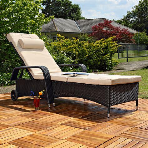 terrasse liege gartenliege rattan lounge verstellbar sonnenliege