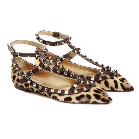 flat valentino shoes valentino leopard rockstud flats in animal leopard lyst