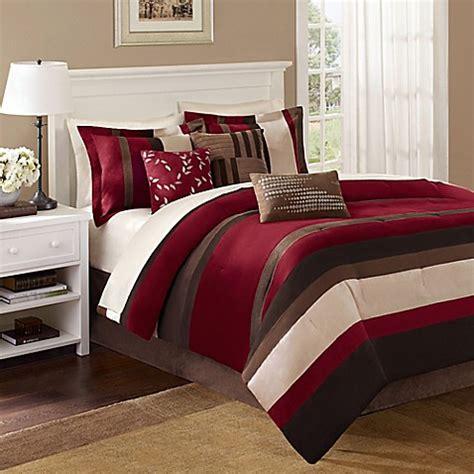 bed bath and beyond boulder madison park boulder stripe 7 piece comforter set in red