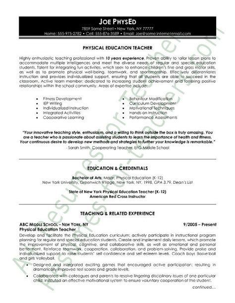 Physical Education Resume by 48 Best Letter Templates Write And Professional