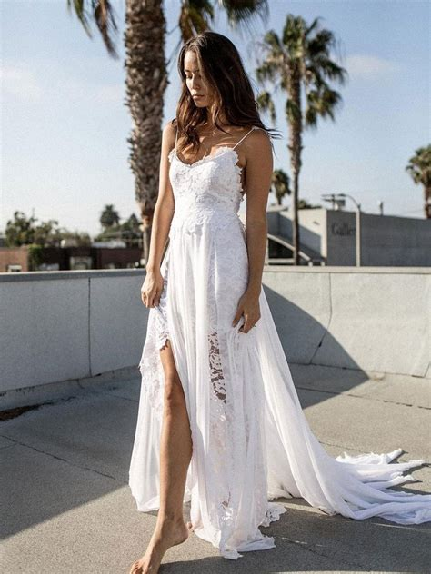 beach wedding dresses chiffon lace   zhu bridal