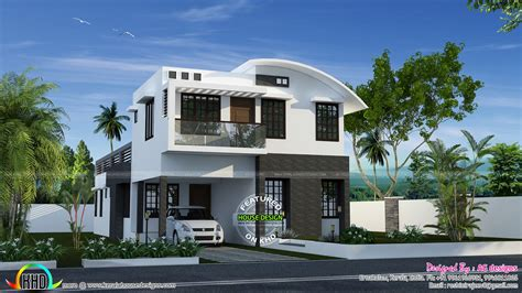 kerala home design kottayam 232 sq m curved roof mix house plan kerala home design