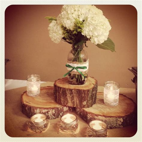 jar and wood centerpieces jar centerpieces wrapped with burlap lace