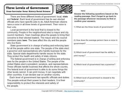 three levels of government 3rd grade reading