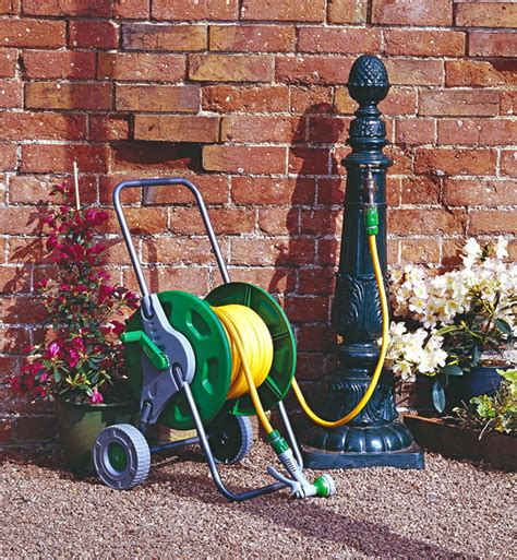 Garden Hose Stand by Portable Hose Pipe Reel Holder Trolley Cart Garden Water