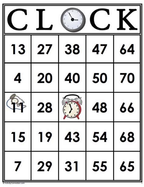 printable clock bingo bingo cards