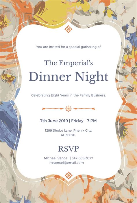 Free Formal Dinner Invitation Template In Microsoft Word Microsoft Publisher Adobe Illustrator Formal Banquet Invitation Template