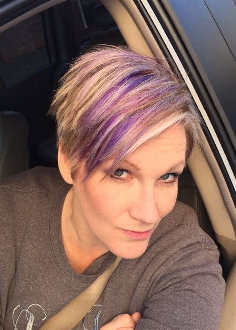 hairstyles with blonde and purple highlights blonde pixie haircut with purple and fuchsia highlights