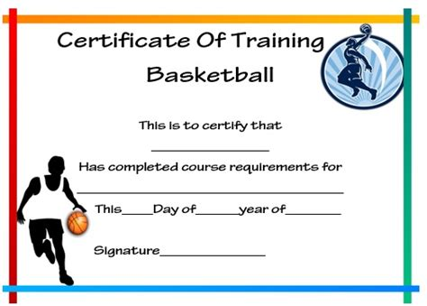 basketball certificate template free basketball