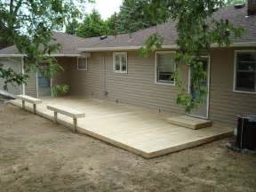 Backyard deck ideas ground level heres a ground level deck with a