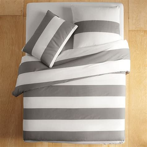 Gray Stripe Comforter by Stripe Duvet Cover Shams White Feather Gray West Elm