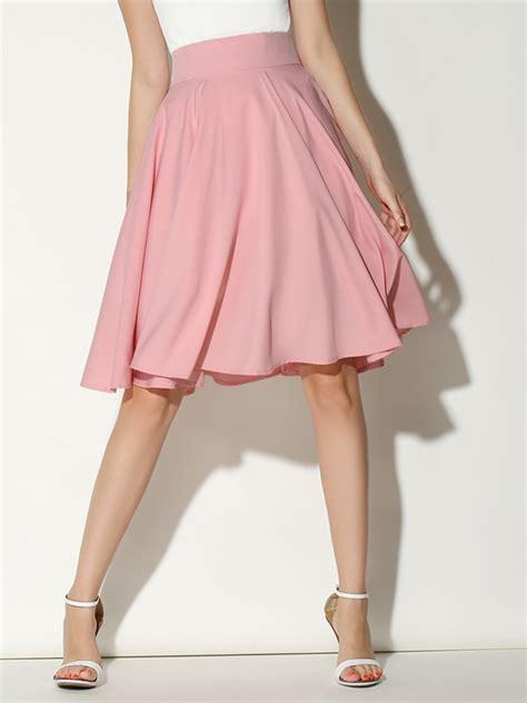 pink high waist midi skater skirt abaday
