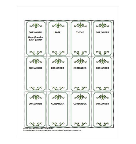 spice jar labels spice jar labels template