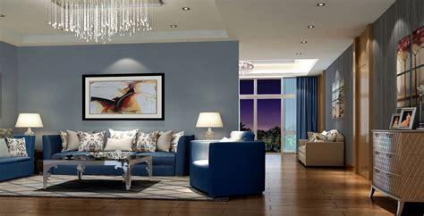 modern living room with blue sofa home decor