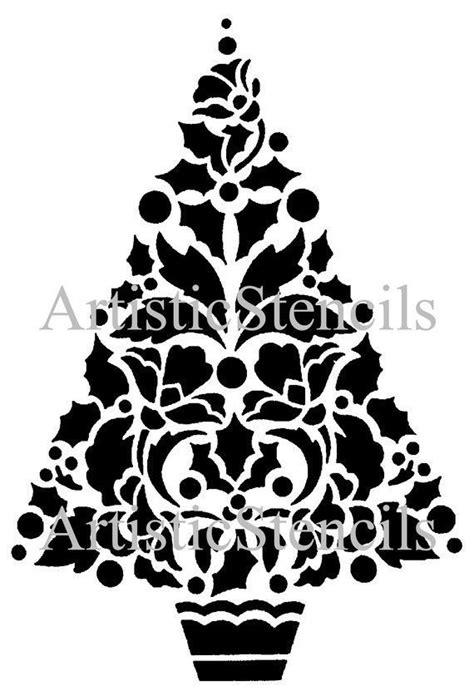 Holly Christmas Tree Stencil 10x14 7 Cricut Christmas Tree Stencil Christmas Tree Stencil Tree Stencil Template
