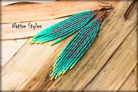 4seed Beaded Feather Earringnative Indian Style