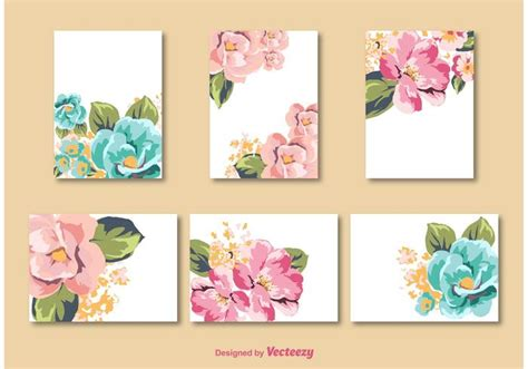 Card Flower Template by Flower Card Vector Templates Free Vector