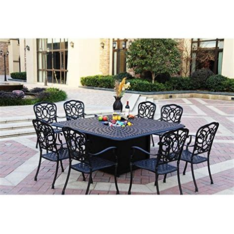 Darlee Florence 9 Piece Cast Aluminum Patio Fire Pit