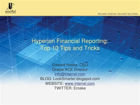 20 best tips and tricks for sydney hyperion financial reporting top 10 tips and tricks 09 20 11