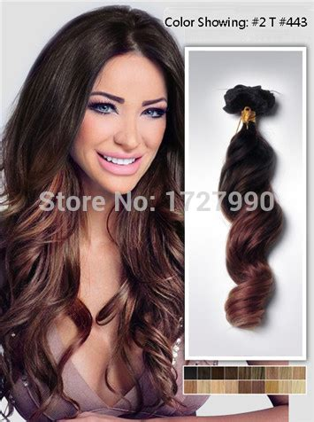 Sale Hairclip 40 Cm 14 inch wavy two tone ombre hair extensions clip in top 2