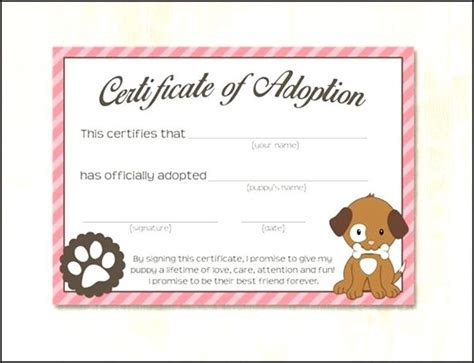 dog adoption certificate template sle templates