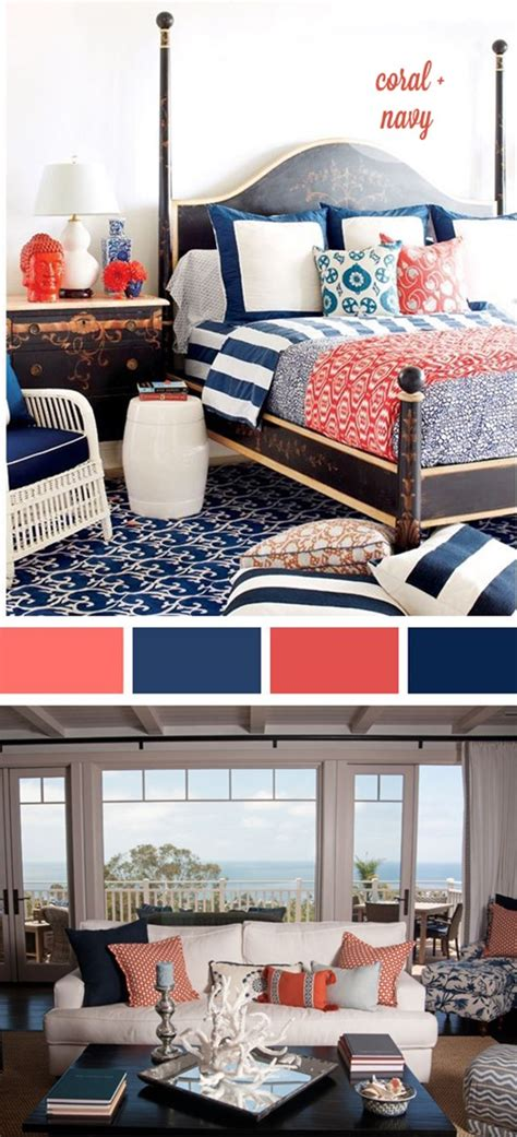 navy blue and coral bedroom decorating with coral centsational style