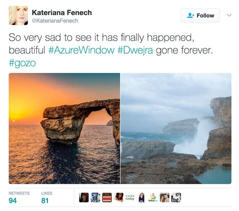 azure window before and after malta s azure window crumbles into the ocean uponarriving