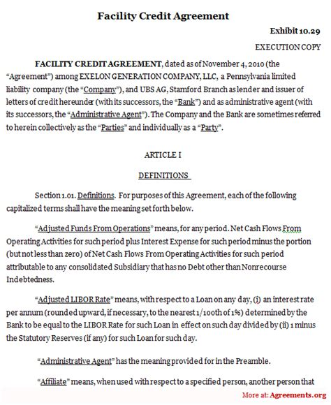 Credit Payment Agreement Template Facility Credit Agreement Sle Facility Credit