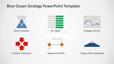 blue strategy template icon set of blue strategy tools and concepts