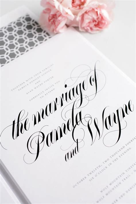 Wedding Invitations Calligraphy by Bold Calligraphy Wedding Invitations In Gray Wedding